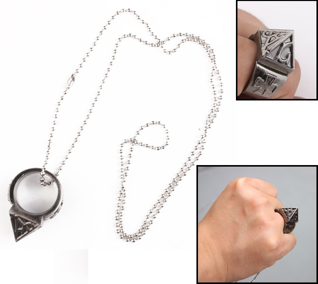 self defense stainless steel ring with necklace emergency