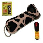 Leopard Keychain Personal Defense Pepper Spray OC-18 1/2 oz With Case
