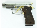Special 99 V85 Blank Firing Gun Replica Chrome Finish With Gold Fittings