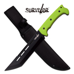 Zombie Green Black Tanto Blade Full Tang Tactical Fixed Blade Knife