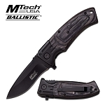 Mtech Black Wood Heavy Duty Spring Assisted Folding Pocket Knife