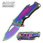3 Inch Closed Bottle Opener Assisted Opening Knife Rainbow Blade