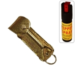 Snake Skin Pattern Personal Defense Pepper Spray OC-18 1/2 oz - Yellow