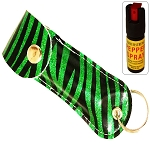 Snake Skin Pattern Personal Defense Pepper Spray OC-18 1/2 oz - Zebra Green