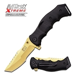 5 Inch MTech Xtreme Spring Assisted Gold Plate Knife With Black Handle