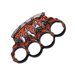 Orange and Gunmetal Flame Skull Brass Knuckle