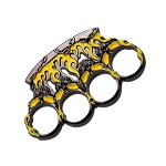 Yellow and Gunmetal Flame Skull Brass Knuckle