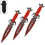 7.5 Inch Deadly Triad of Skulls Dagger Point 3 PC Throwing Knives Set Red