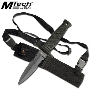 MTech Fixed Blade Knife Black Finish Dagger With Shoulder Strap Sheath