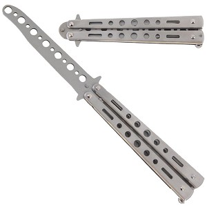 "8.7"" Silver Metal Practice Butterfly Balisong Trainer Training Knife Dull Tool"