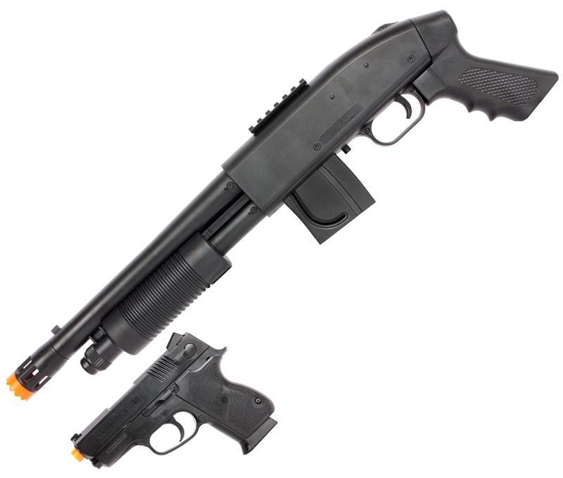 Mossberg 590 Airsoft Pistol Grip Shotgun Kit with Spring  45 Pistol and 500  BBs