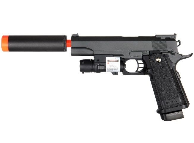 g6a m1911 1911 a1 metal airsoft spring pistol with silencer laser