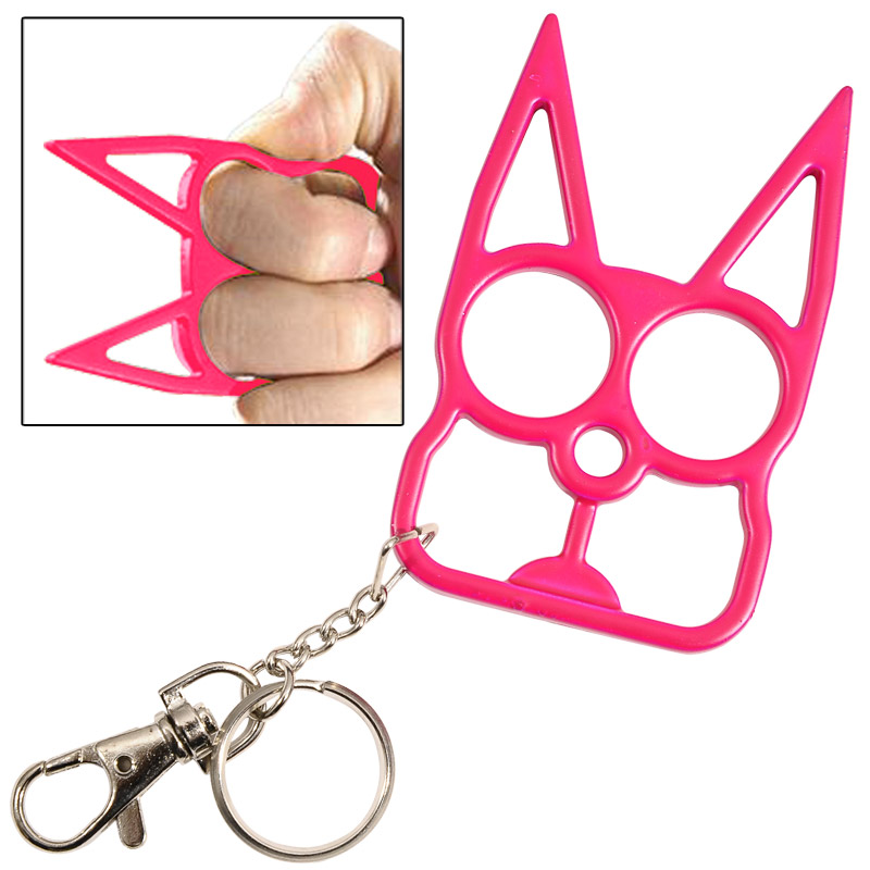 Cat Self Defense Knuckle Key Chain Hot Pink