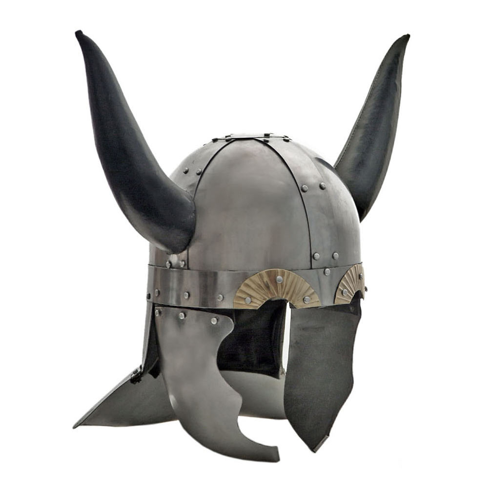 Viking Helmet with Leather Horns and Stand