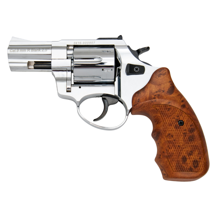stalker barrel revolver chrome finish simulated wood grips - 9mm blank gun