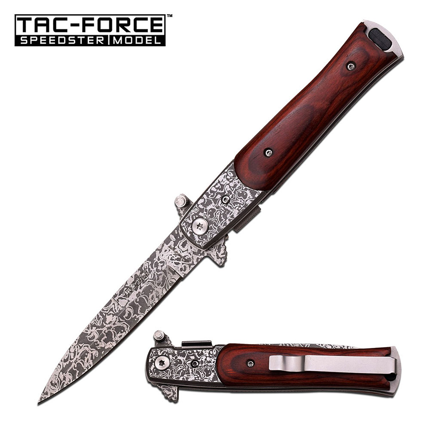 Stiletto Spring Action Assisted Knife - Brown Pakkawood