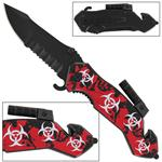 Zombie Fatality Bio-Hazard Flashlight Spring Assist Knife