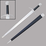 Hand-And-A-Half Sword With Leather Scabbard