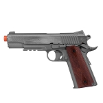 Colt 1911 Rail Gun CO2 Fixed Metal Slide Airsoft Pistol - Stainless Steel