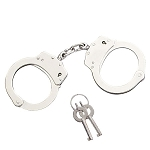 Professional Police Handcuffs Nickel Plated Double Lock with 2 Keys