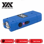 Blue DZS Rechargeable Self Defense Ultra Mini Stun Gun With LED FlashLight