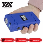 DZS Rechargeable Blue Stun Gun with Safety Disable Pin LED Flashlight