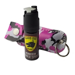 Pink Camo Personal Defense Pepper Spray OC-18 1/2 oz Keychain Leather Case
