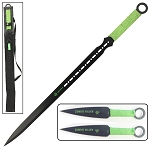 Zombie Killer Full Tang Ninja Sword With 2-Pc Kunai Throwing Knife Set