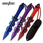3 Piece Throwing Knife Set 2 Tone Blue Purple Red