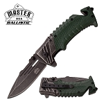 Spring Assist Folding Pocket Knife Stone Gray Blade Green Tactical Rescue EDC