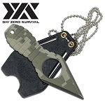 Day Zero Survival Fixed Blade Neck Knife Camo Grenade Style Handle