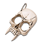 Demonic Skull Knuckle Self Defense Keychain Bone Color Design