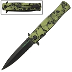 Skull Design Handle Stiletto Style Spring Assist Pocket Knife