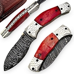 Handcrafted Red Dawn Damascus Folding Pocket Knife
