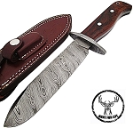 Arrowwood Damascus Steel Full Tang Fixed Blade Hunting Knife