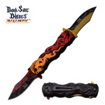 Dual Blade Red Orange Dragon Fantasy Blade Spring Assisted Knife