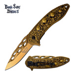 Gold Skull Titanium Nitrite Blade Tactical Spring Assisted Pocket Knife