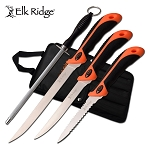 Elk Ridge 3 Pc Fillet Knife Set With Sharpening Rod & Nylon Case