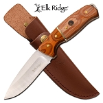 Hunting Knife Drop Point Blade Wood Handle Full Tang + Leather Sheath