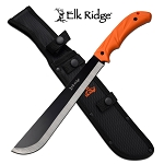 Elk Ridge Medium Sized Outdoor Camping Machete Knife Orange Handle