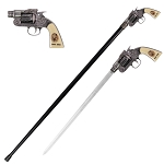 Jesse James Revolver Gun Handle Sword Cane