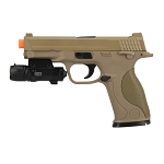 G53 Metal Slide Full Size Airsoft Spring Pistol Tan With Laser