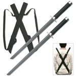 Black Twin Ninja Sword Set with Body Harness Strap Dual Blades
