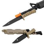 Airsoft M9 Rubber Bayonet for M4/M16 Carbine Rifles Tan Finish