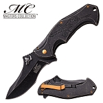 Spring Assist Folding Pocket Knife Gray Stone Skull Dagger Fantasy