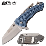 Mtech Spring Assist Pocket Knife Bottle Opener Aluminum Handle Blue