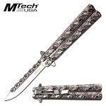 Pocket Knife Chain Style Blade Spring Assisted Knife Polished