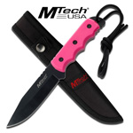 Pink Full Tang Fixed Blade Drop Point Survival Knife with Sheath