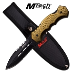 MTech Fixed Blade/ T-Dagger Knife with Army Green Aluminum Handle