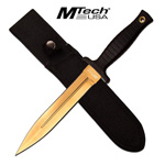 Tactical Titanium Coated Black Gold Double Edge Fixed Blade Dagger
